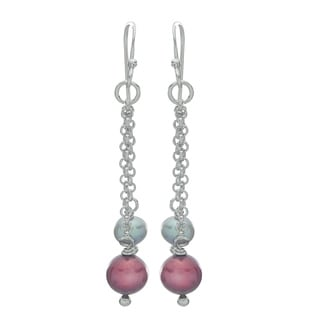 Pearls For You Sterling Silver Grey and Cranberry Freshwater Pearl Dangle Earrings