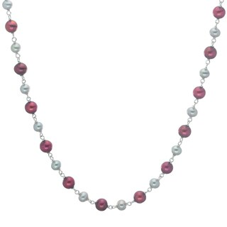 Pearls For You Sterling Silver Dyed Grey/ Cranberry Freshwater Pearl 17-inch Necklace (5-5.5 mm, 6.5-7 mm)