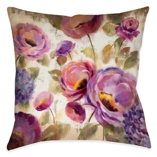 Laural Home Blue and Purple Florals II Decorative 18-inch Throw Pillow
