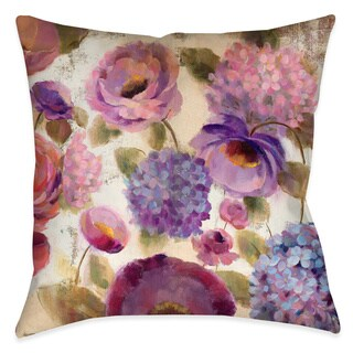 Laural Home Blue and Purple Florals III Decorative 18-inch Throw Pillow