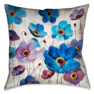 Laural Home Blue Anemones Decorative 18-inch Throw Pillow