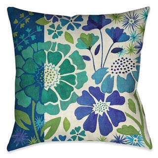 Laural Home Blue Florals I Decorative 18-inch Throw Pillow