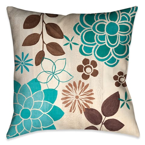 Laural Home Blue Garden II Decorative 18 Inch Throw Pillow