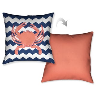 Laural Home Chevron Crab Decorative 18-inch Throw Pillow