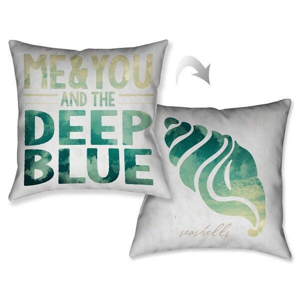 Laural Home Deep Blue Sea Shell Decorative 18-inch Throw Pillow