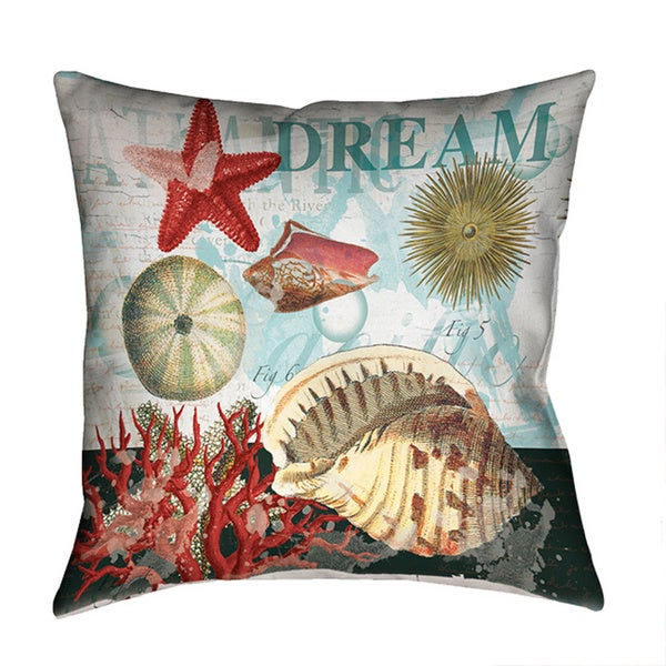 Laural Home Dream Shell Collage Decorative 18-inch Throw Pillow