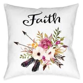 Laural Home Floral Bohemian Faith Decorative 18-inch Throw Pillow