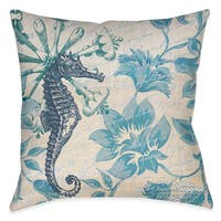 Laural Home Florals and Seahorse Decorative 18 Inch Throw Pillow