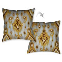 Laural Home Grey Gold Abstract II Decorative 18-inch Throw Pillow