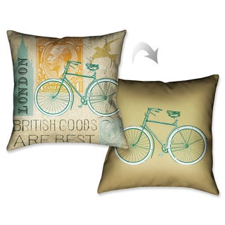 Laural Home London Postcard Decorative 18-inch Throw Pillow