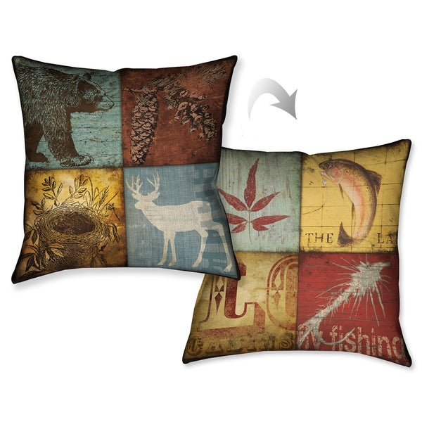 Laural Home Lodge Patches Decorative 18 Inch Throw Pillow