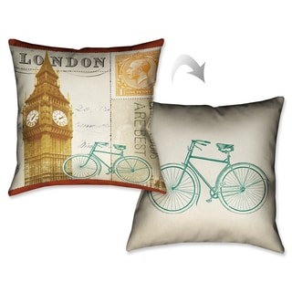 Laural Home London Postcard II Decorative 18-inch Throw Pillow