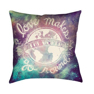 Laural Home Love Makes the World Go Round Decorative 18 Inch Throw Pillow
