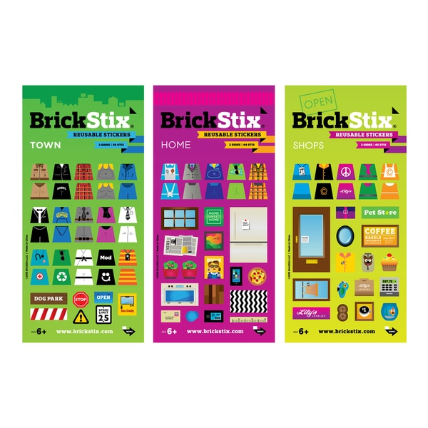 BrickStix My Neighborhood Building Block Sticker Set