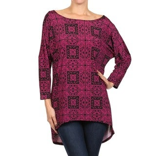 MOA Collection Women's Mosaic Print Dolman Sleeve Top