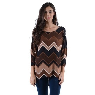 MOA Collection Women's Chevron Print Dolman Sleeve Top