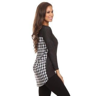MOA Collection Women's Solid Top with Plaid Band