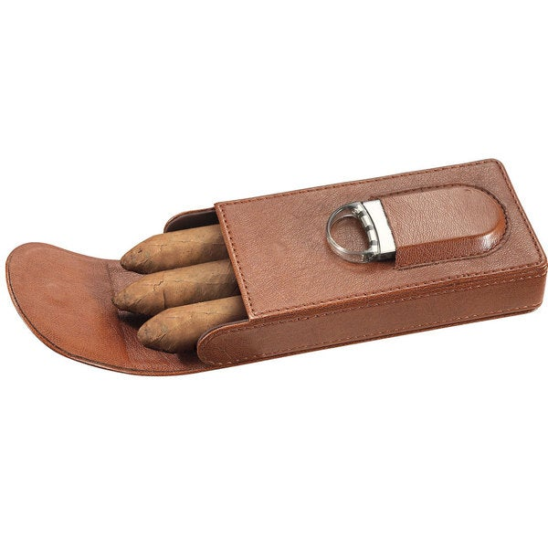 Visol Caldwell Brown Leather Cigar Case with Cigar Cutter - 3 Cigars