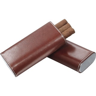 Visol Lone Star Brown Leather Cigar Case - 3 Cigars