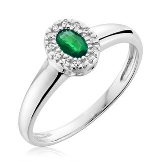 10k White Gold Oval Emerald Diamond Accent Ring