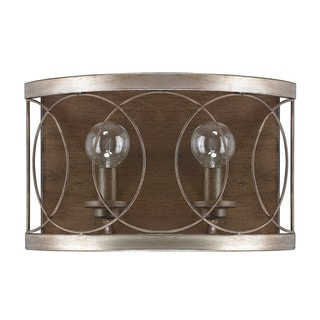 Austin Allen & Company Madeline Collection 2-light Brushed Silver W/Bronze Wall Sconce