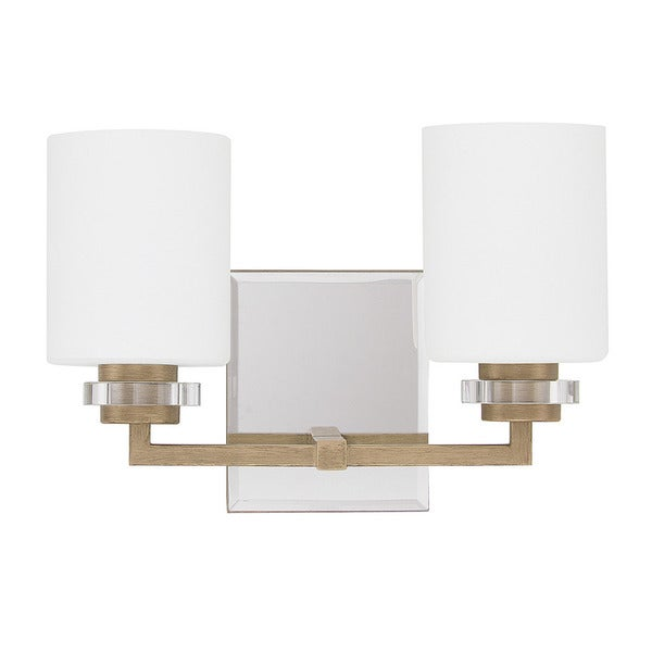 Shop austin allen company transitional 2 light brushed for Gold bathroom wall lights