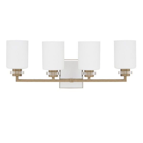 Austin allen company transitional 4 light brushed gold for Gold bathroom wall lights