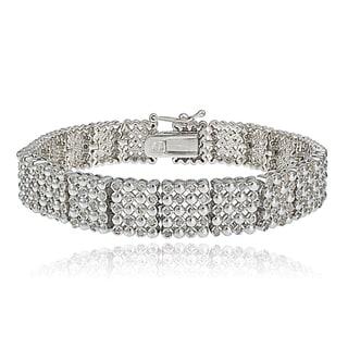 DB Designs Silvertone/Goldtone 2ct TDW Diamond 5-Row Link Bracelet