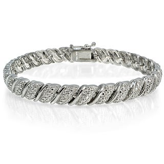 DB Designs Silvertone Brass 1/10ct TDW Diamond Fancy Tennis Bracelet (I-J, I2-I3)