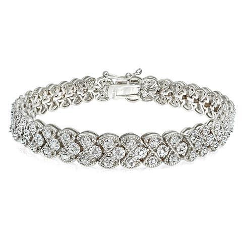 DB Designs Silvertone/Goldtone 1ct TDW Diamond Braided Link Bracelet
