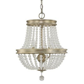 Gold finish ceiling lights for less overstock austin allen company handley collection 3 light iced gold chandelier aloadofball Choice Image
