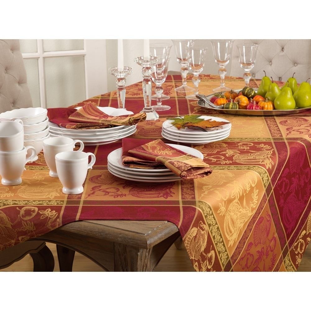 Saro Plaid Thanksgiving Design Tablecloth (72 x 72/Square...