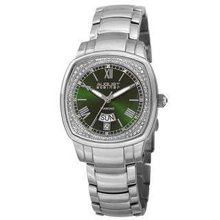 August Steiner Women's Swiss Quartz Diamonds Stainless Steel Green Bracelet Watch