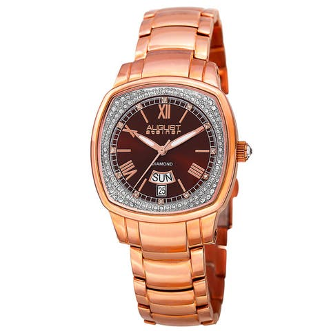 August Steiner Women's Swiss Quartz Diamonds Stainless Steel Rose-Tone Bracelet Watch - brown