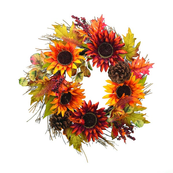 Shop Sunflower Pinecone Wreath Free Shipping On Orders