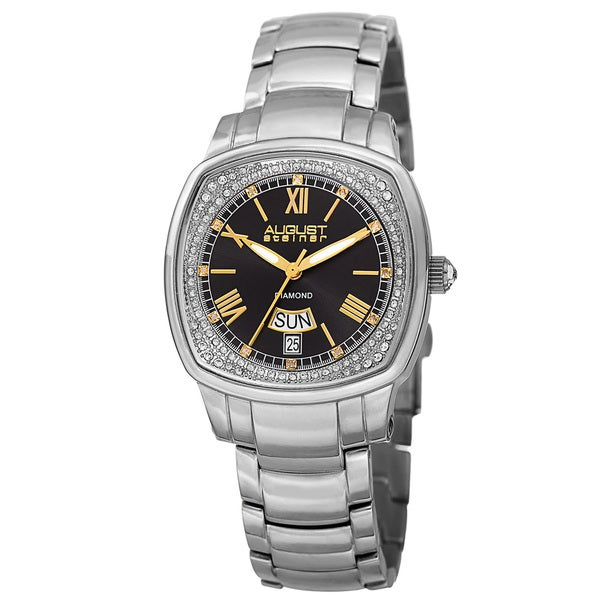 August Steiner Women's Swiss Quartz Diamonds Stainless Steel Silver-Tone Bracelet Watch - silver
