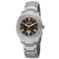 August Steiner Women's Swiss Quartz Diamonds Stainless Steel Silver-Tone Bracelet Watch with FREE Bangle - silver
