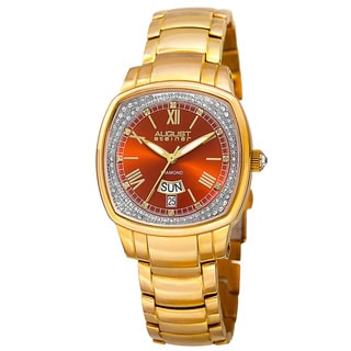 August Steiner Women's Swiss Quartz Diamonds Stainless Steel Gold-Tone Bracelet Watch