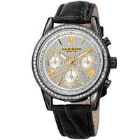Akribos XXIV Women's Swiss Quartz Multifunction Leather Black Strap Watch