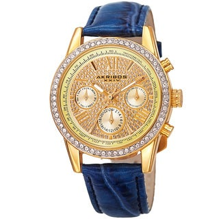 Akribos XXIV Women's Swiss Quartz Multifunction Leather Blue Strap Watch