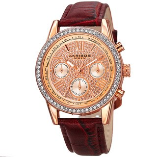 Akribos XXIV Women's Swiss Quartz Multifunction Leather Strap Watch - Purple