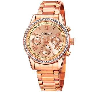 Akribos XXIV Ladies Swiss Quartz Swarovski Crystals Dual-Time Stainless Steel Rose-Tone Bracelet Watch