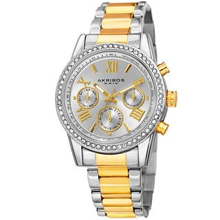 Akribos XXIV Ladies Swiss Quartz Swarovski Crystals Dual-Time Stainless Steel Two-Tone Bracelet Watch