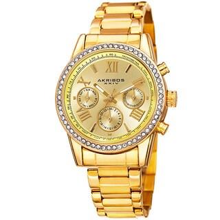 Link to Akribos XXIV Ladies Swiss Quartz Swarovski Crystals Dual-Time Stainless Steel Gold-Tone Bracelet Wat - Gold Similar Items in Women's Watches