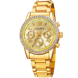 Akribos XXIV Ladies Swiss Quartz Swarovski Crystals Dual-Time Stainless Steel Gold-Tone Bracelet Watch