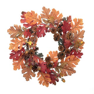 Burlap, Oak, and Pinecone Wreath