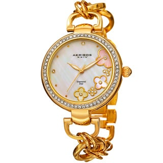 Akribos XXIV Women's Diamond Floral Dial Twist Chain Gold-Tone Bracelet Watch