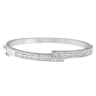14k White Gold 2 1/4ct TDW Diamond Buckle Bracelet Bangle (H-I, SI1-SI2)