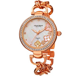 Akribos XXIV Women's Diamond Floral Dial Twist Chain Rose-Tone Bracelet Watch