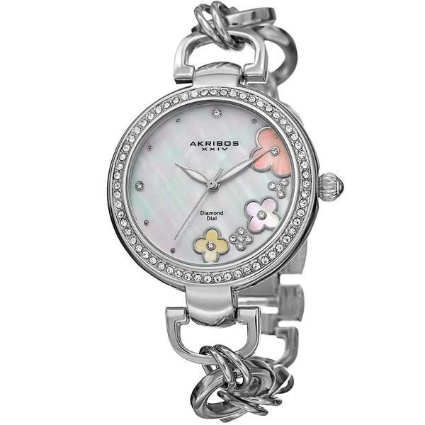 Akribos XXIV Women's Diamond Floral Dial Twist Chain Silver-Tone Bracelet Watch with FREE GIFT - Silver